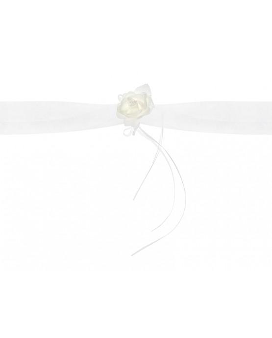 Ozdoba na auto - biela s kvetmi 2ks