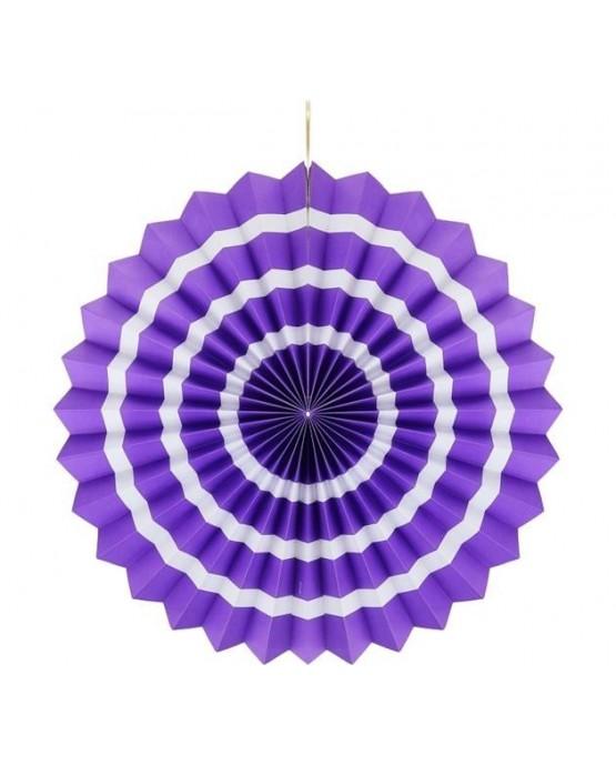 Papierová rozeta -fialová-biele pásiky 40cm 1ks