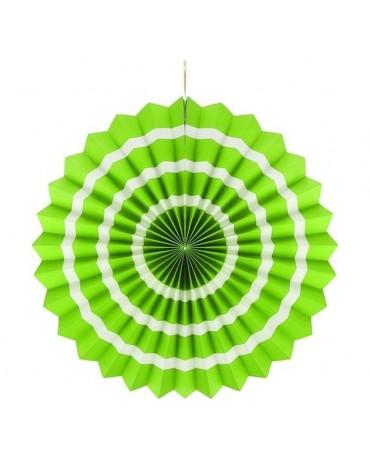 Papierová rozeta -zelená-biele pásiky 40cm 1ks