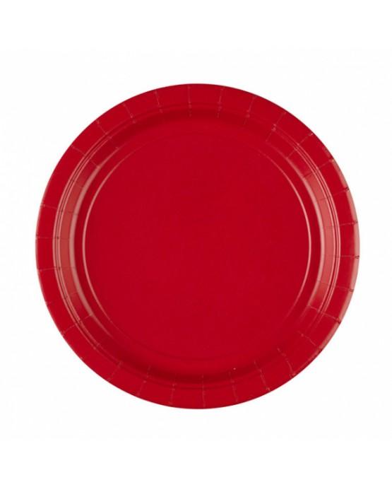 Papierové tanieriky červené 23cm 8ks