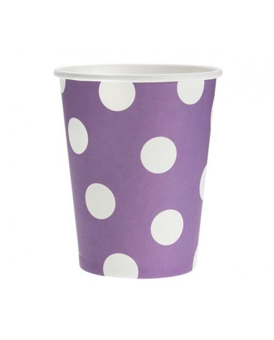 Poháre - fialové -biele bodky 270 ml - 6ks