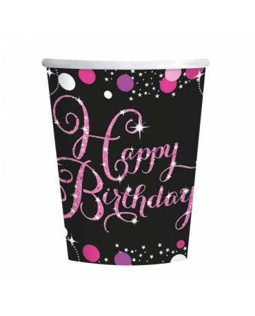 Poháre Happy Birthday - ružové 266ml 8ks