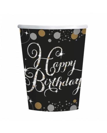 Poháre Happy Birthday - zlaté 266ml 8ks