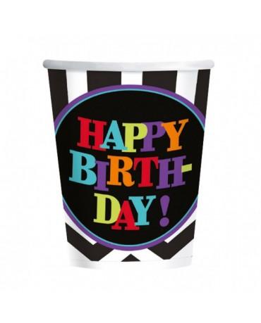 Poháre Happy Birthday- čierno-farebné - 266ml 8ks