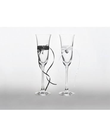 Poháre na šampanské - klúč a srdce 2ks