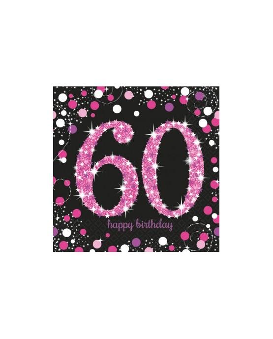 Servítky 60. narodeniny- ružové 33cm 16ks
