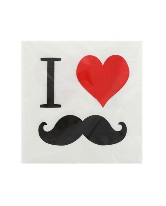 Servítky mustache - fúzy 33cm 20ks
