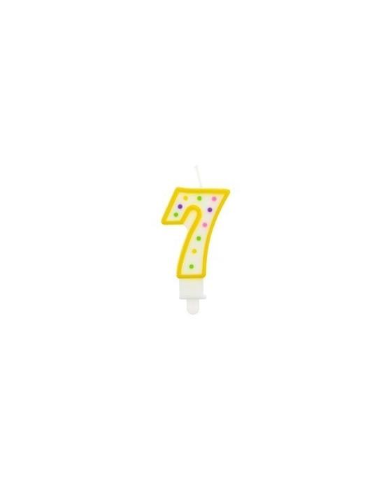 Sviečka - číslo 7 - bodky 7,5cm