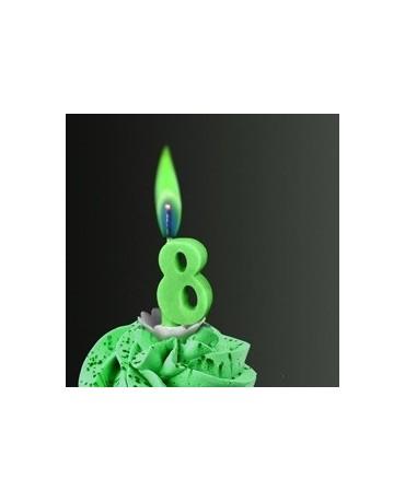 Sviečka - číslo 8 -zelený plameň