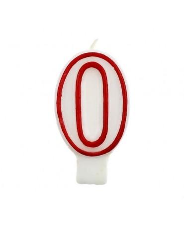 Sviečka číslo 0 - červeno-biela 7cm 1ks
