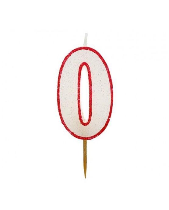 Sviečka číslo 0 - trblietavá-červená 6cm 1ks
