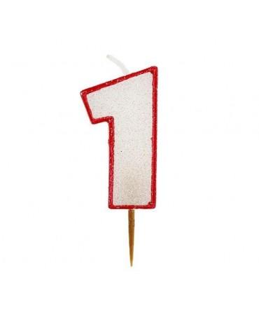Sviečka číslo 1 - trblietavá-červená 6cm 1ks