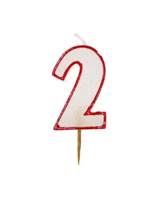 Sviečka číslo 2 - trblietavá-červená 6cm 1ks