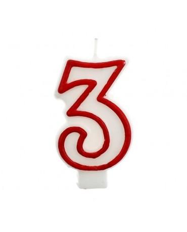 Sviečka číslo 3 - červeno-biela 7cm 1ks