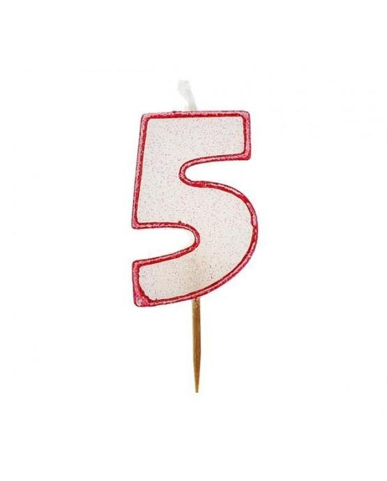 Sviečka číslo 5 - trblietavá-červená 6cm 1ks