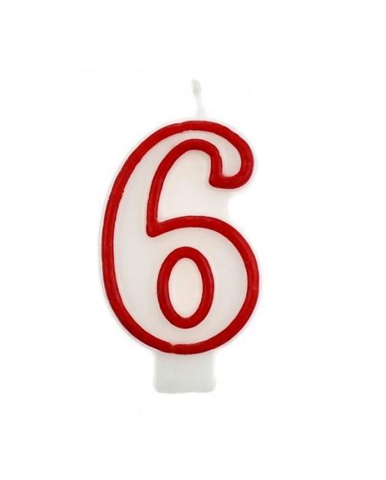 Sviečka číslo 6 - červeno-biela 7cm 1ks
