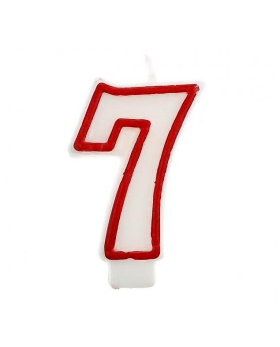 Sviečka číslo 7 - červeno-biela 7cm 1ks