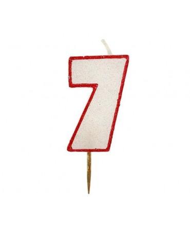 Sviečka číslo 7 - trblietavá-červená 6cm 1ks
