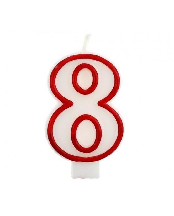 Sviečka číslo 8 - červeno-biela 7cm 1ks
