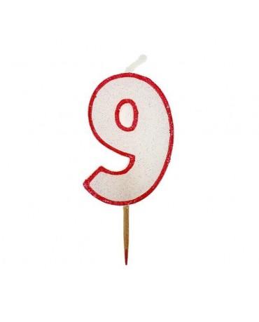 Sviečka číslo 9 - trblietavá-červená 6cm 1ks