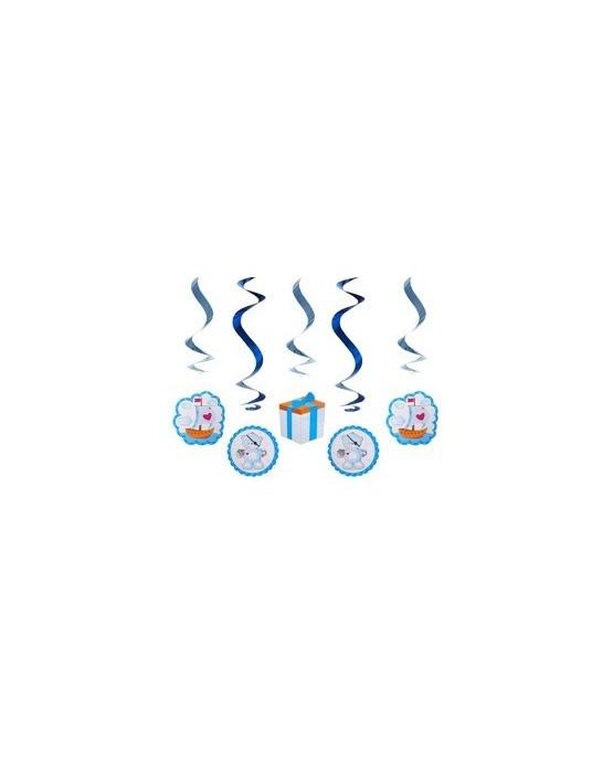 Špirály - medvede -modré 60cm 5ks
