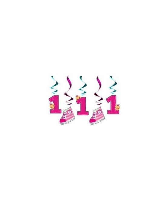 Špirály 1.narodeniny-ružové 60cm 5ks