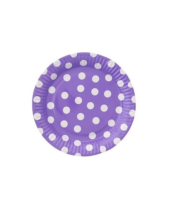 Tanieriky - fialové-biele bodky  23cm - 6ks