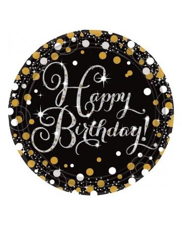 Tanieriky Happy Birthday- zlaté 23cm 8ks
