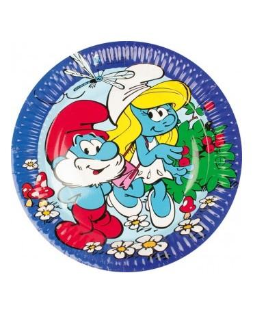 Tanieriky Šmolkovia- modré 18cm - 8ks