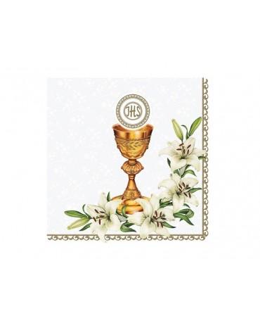 Servítky 1.sväté prijímanie- kalich s kvetmi 20ks