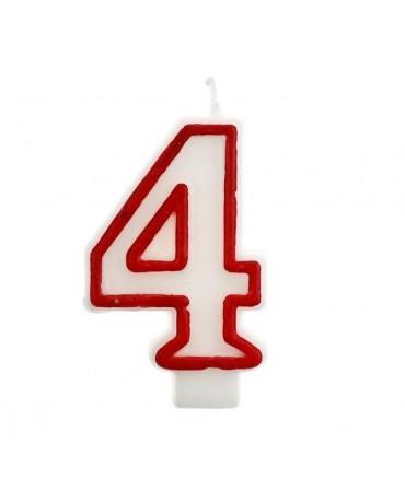 Sviečka číslo 4 - červeno-biela 7cm 1ks