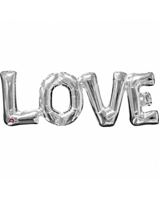 Fóliový balón LOVE- strieborný 63x22cm