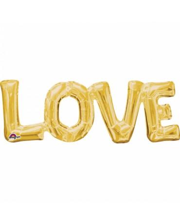 Fóliový balón LOVE- zlatý 63x22cm