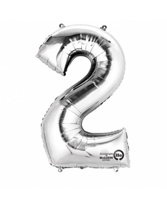 Fóliový balón číslo 2-strieborný 50x88cm
