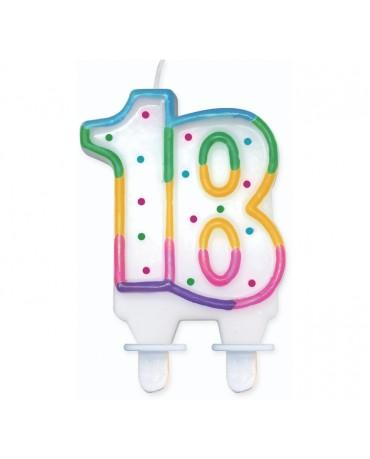 Sviečka - číslo 18 - bodky 7,5cm