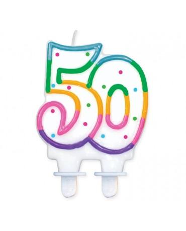 Sviečka - číslo 50 - bodky 7,5cm