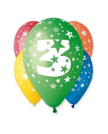 Latexové balóny číslo 3-hviezdy 30cm 10ks