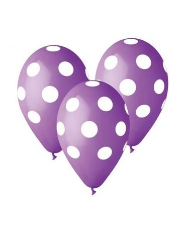 Latexové balóny fialové-biele bodky 30cm 5ks