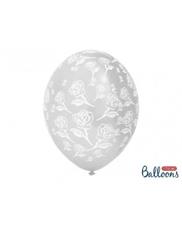 Latexové balóny priehľadné -vzor ruží 30cm 10ks