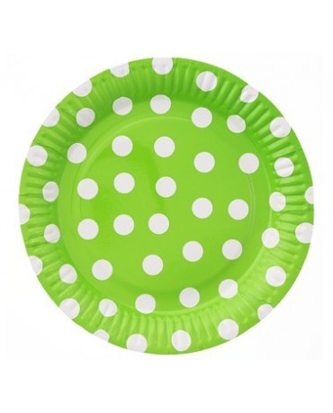 Taniere zelené -biele bodky 23cm 6ks