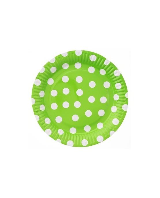 Pap. taniere zelené s bodkami 23cm 6ks