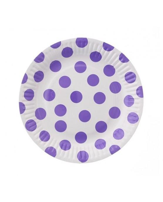 Pap. taniere fialové bodky 18 cm 6ks