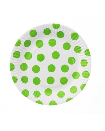 Taniere-biele zelené bodky 18cm 6ks