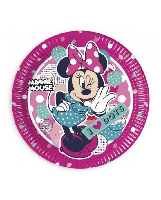 Tanieriky Minnie mouse - bodky 23 cm - 8 ks/P173