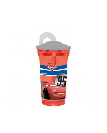 Plastový pohár so slamkou Autá 350 ml