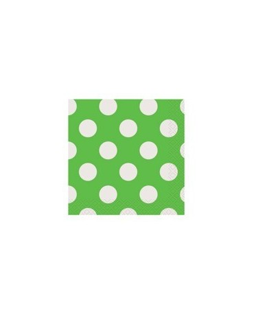 Servítky - zelené- biele bodky 25 cm 16ks