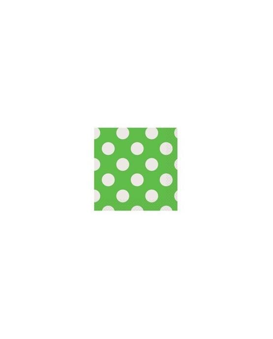 Servítky - zelené s bielymi bodkami 25 cm - 16 ks/P110