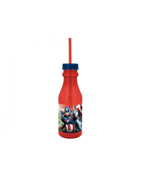 Plast. fľaša so slamkou Avengers 500 ml