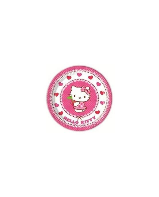 Tanieriky s motívom Hello Kitty - srdcia 20 cm - 8 ks/P190