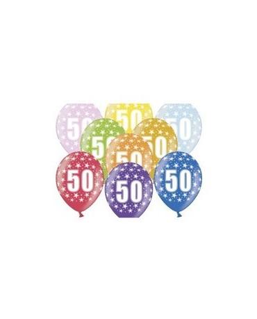 Latexové balóny číslo 50-hviezdy 30cm 10ks